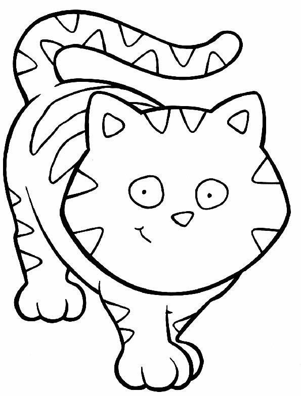 Gatito alegre para colorear. Teby y Tib - Portal Infantil