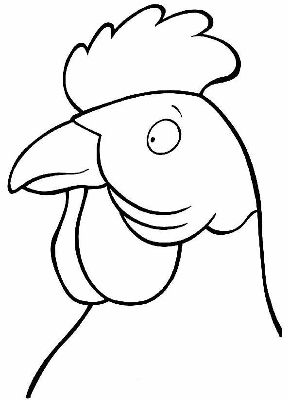 Cabeza de gallo con cresta para colorear. Teby y Tib - Portal Infantil