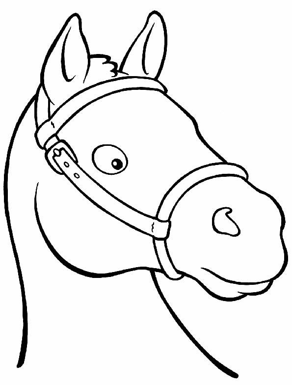 Cabeza caballo sorprendido para colorear. Teby y Tib - Portal Infantil