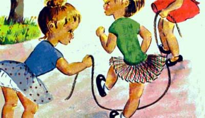 este juego es para jugar en la calle a la comba se eligen dos nios para que giren la comba la cuerda y el resto comienza a saltar al son de la